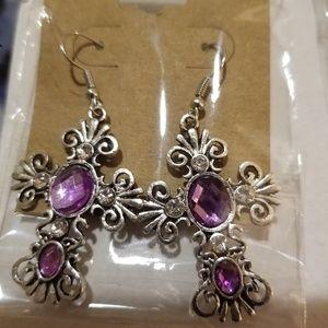 Jewelry - Purple gemstone antiqued earings